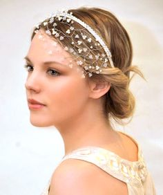 Our beautiful Calliope wedding headpiece £122. This stunning headpiece is handmade with the finest Swarovski pearl and crystal suspended amongst silver wire and falls perfectly on the forehead on an ivory ribbon wrapped headband. Finished with oodles of sparkling Swarovski crystal along the headband. A delicate yet stunning headpiece. Crystal/pearl colour options available on request.