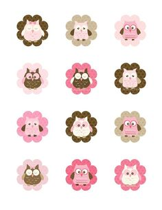 Pink Owl Cupcake Toppers Owl Party Printable por TracyAnnPrintables
