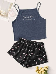 Shop Letter & Galaxy Cami PJ Set at ROMWE, discover more fashion styles online. Girls Fashion Clothes, Teen Fashion Outfits, Outfits For Teens, Girl Outfits, Pajama Outfits, Teenage Outfits, Cute Lazy Outfits, Simple Outfits, Trendy Outfits