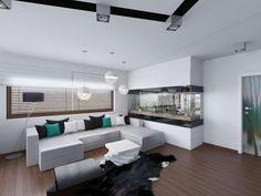 Nowoczesny salon w biało - czarnej kolorystyce z akcentem zieleni.