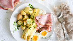 Witte asperges met ham, ei en snelle hollandaisesaus