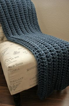 Etsy WEST BAY THROW - Soft, warm & cozy throw in Blue by www.BehindMyPicketFence.com