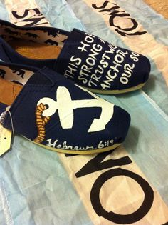 Custom Hand Painted Anchor Toms by BekasBargains on Etsy, $100.00