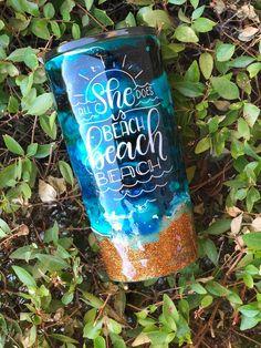 Items similar to Beach Beach Beach glitter tumbler on Etsy Diy Tumblers, Custom Tumblers, Glitter Tumblers, Thermos, Tumbler Quotes, Cup Crafts, Diy Cutting Board, Custom Cups, Glitter Cups