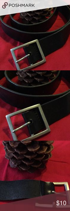 """Men's Black Belt With Silver Buckle 44"""" length w/o buckle  1/2"""" wide  Nicely worn in no tags Accessories Belts"""
