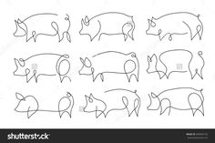 One line pig design silhouette.Hand drawn minimalism style vector illustration