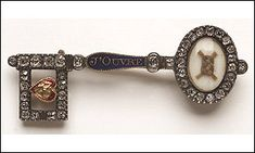 "A brooch believed to have been given to Flora Macdonald by Bonnie Prince Charlie. The diamond and blue enamelled brooch, in the shape of a key, was sold at auction in Edinburgh for £ 13,000 in 2002.     It had been expected fetch about £ 6,000.     The brooch, thought to be one of a pair, contains a lover's knot of a couple's hair, a red enamelled heart at its base and the words ""j'ouvre"" outlined along the length of the key."
