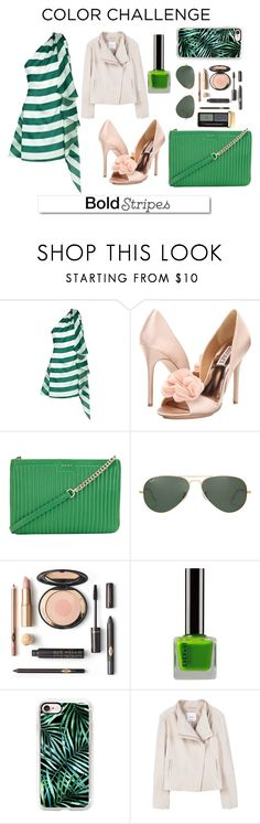 """""""Big, Bold Stripes"""" by elisabetta-negro ❤ liked on Polyvore featuring Paper London, Badgley Mischka, DKNY, Ray-Ban, Casetify, MANGO, Guerlain, White Label, GREEN and blush"""