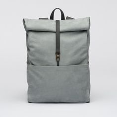 Backpack-Leather- Oyster Stone- bag- Integrated Laptop Case-Roll-Top-Padded Back-Several Inner and Outer Pockets-1