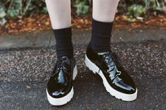 Patent black shoes All White Shoes, Black Patent Shoes, Patent Leather, One Step Forward, Chunky Boots, New Fashion, Urban Outfitters, Street Style, Sneakers