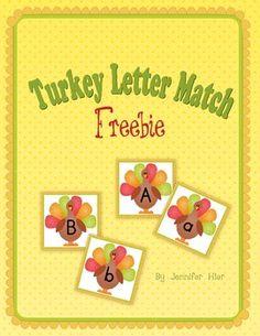 Turkey Letter Match (free; from Kindergarten: Holding Hands & Sticking Together)
