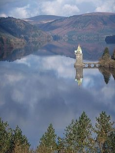 The Straining Tower in Lake Vyrnwy, Wales