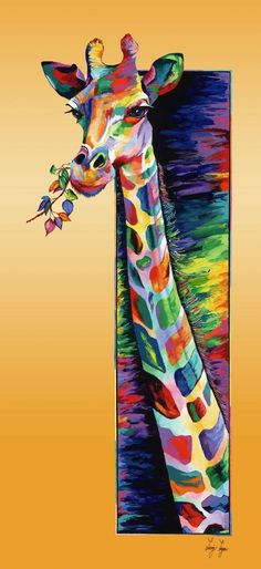 """Saatchi Art Artist Linzi Lynn; Painting, """"Giraffe Eating by Linzi lynn - Limited Edition Giclée on canvas, hand-embellished on hand-painted gold background #6 of 50"""" #art"""