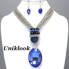Sapphire Blue Glass Pearl Knot Design Silver Chains Necklace Set Jewelry