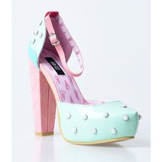 Green & Pink Pastel Ice Cream Lick Me Platform Heels ($82) ❤ liked on Polyvore featuring shoes, pumps, heels, pastel, green, high heel pumps, closed-toe pumps, ankle strap platform pumps, high heel shoes and pink shoes
