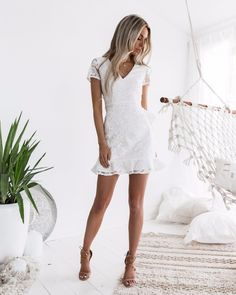 CLICK & BUY :) New white lace mini elegant party ruffle summer dress V neck sexy. - CLICK & BUY 🙂 New white lace mini elegant party ruffle summer dress V neck sexy lace back Source by elochy - Cocktail Bridesmaid Dresses, Hoco Dresses, Sexy Dresses, Casual Dresses, Spring Dresses, White Party Dresses, Dress Party, White Graduation Dresses, Short White Dresses
