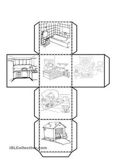 Here you are a cube to cut with the parts of the house. The pupils have to paint and write the name of the different rooms. - ESL worksheets