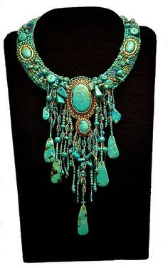 fabulous turquoise by Katherine Farmer. Her interpretation of Sherry Serafini's fabulous real turquoise necklace. It is mostly polymer clay beads and shapes, and glass seed beads on Ultrasuede. Jewelry Accessories, Jewelry Design, Schmuck Design, Native American Jewelry, Turquoise Jewelry, Turquoise Gemstone, Turquoise Bracelet, Jewelry Necklaces, Long Necklaces