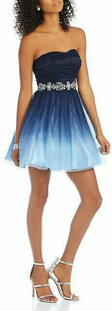 Blue ombre short prom dress