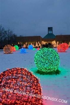 christmas light balls made with chicken coop wire i think you could store them in large trash bags and hang the bags from a rod or ceiling hooks in the - Shark Tank Christmas Lights