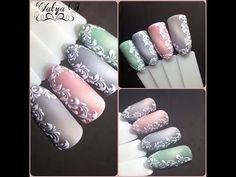 Морозные узоры на ногтях - 3 варианта! Дизайн ногтей по мокрому гель-лаку. - YouTube