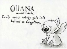 "Ooh okay so one of us would get the ""Ohana means family..."" then the other would get ""...Family means no one gets left behind"" ooh and if we convince Kammie or someone they can't get the ""... Or forgotton."" @Jamie Broz"