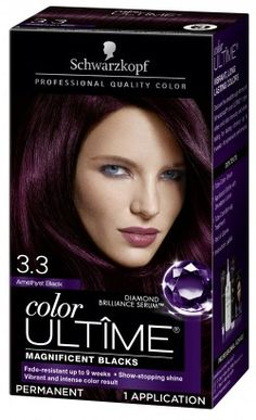 Schwarzkopf Color Ultime Permanent Hair Color Cream, Amethyst Black - The most beautiful hairstyles Hair Color Cream, Hair Color Purple, Hair Color For Black Hair, Cool Hair Color, Shades Of Purple, Hair Colours, Dark Purple, Schwarzkopf Color, Schwarzkopf Hair