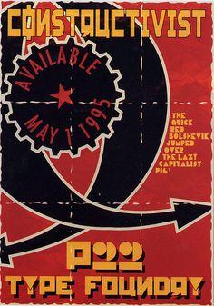P22 Constructivist font promo postcard 1995 Graphic Design Posters, Ads