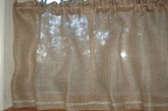 Rustic chic Burlap cafe curtain panels in by MySignatureStitch - Kitchen and Laundry Room