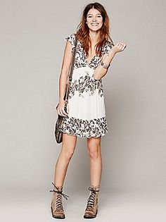Free People Rose Print Ruffle Frock at Free People Clothing Boutique