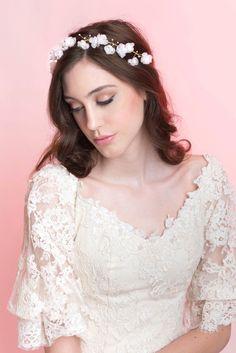 Wedding Hair Accessory Bridal Flower Halo Silk by MilaKolitsova
