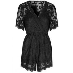 Black Lace Wrap Over Playsuit (€62) ❤ liked on Polyvore featuring jumpsuits, rompers, playsuit romper, wrap rompers, deep v neck romper, wrap romper and lace romper