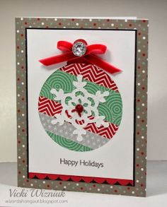 Cute holiday ornament card using CTMH Sparkle and Shine Washi Tape.  by Vicki Wizniuk