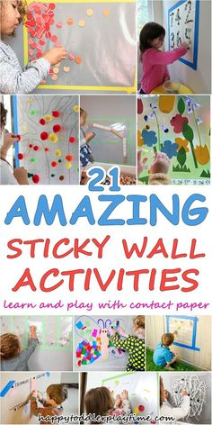 of the BEST Contact Paper Activities - HAPPY TODDLER PLAYTIME - - amazing contact paper activities for toddlers and preschoolers. Learn and play with all of these fun and easy sticky wall activities! Toddler Learning Activities, Infant Activities, Preschool Activities, Kids Learning, Summer Activities, Outdoor Activities For Preschoolers, 10 Month Old Baby Activities, Baby Activities 1 Year, Winter Activities For Toddlers