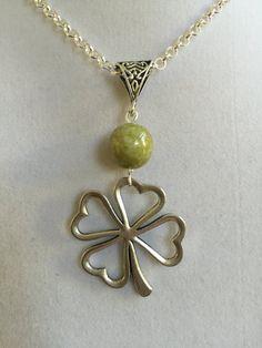 Silver Four Leaf Clover and Connemara Marble by joytoyou41 on Etsy