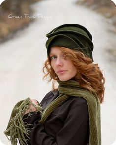 Sculpted Green Fur Felt Cloche Hat ♡ by GreenTrunkDesigns on Etsy