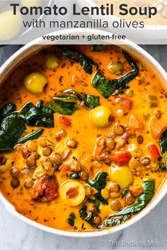 PIN TO SAVE! This tomato lentil soup is easy to make and a super cozy vegetarian meal. The lentils are cooked in a rich broth with tomatoes, carrots, celery, garlic, and spices. The soup is finished with a little spinach, a splash of cream, and some delicious manzanilla olives. #theendlessmeal #lentilsoup #tomatolentilsoup #olives #olivesoup #oliverecipes #lentils #lentilrecipes #tomatosoup #vegetariansoup #soup #souprecipes Vegetarian Recipes Easy, Veggie Recipes, Cooking Recipes, Healthy Recipes, Vegetarian Stew, Tomato Soup Recipe Vegetarian, Vegetarian Cooking, Lentil Soup Recipes, Gastronomia