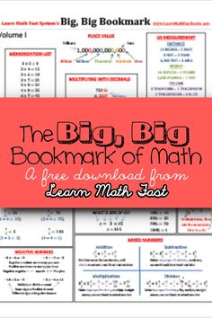 Free Math bookmark, printable, download, cheat sheet from LearnMathFastBooks.com