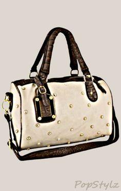 MG Collection PRITA Studded Faux Crocodile Bowler Handbag