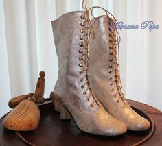 Weeding shoes Victorian Lace up Boots  in Silver by VictorianBoots, $190.00