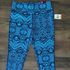 Blue workout capris Super fun design. Very soft. Medium thickness. Perfect condition new with tags. I just have too many workout pants. I have a problem!   Material Girl Pants Track Pants & Joggers