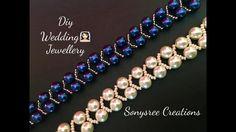 3 Easy and Elegant Beaded Pearl Bracelet Tutorials by Sonysree Creations (The Beading Gem's Journal) - new season bijouterie Beaded Bracelets Tutorial, Beaded Bracelet Patterns, Earring Tutorial, Jewelry Patterns, Beaded Earrings, Crochet Bracelet, Beads Tutorial, Bead Jewellery, Diy Jewelry