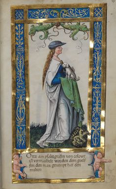 Another Robin Hood hat. Uta von Schauenburg holding a dog from Weingartener Stifterbüchlein (circa by an unknown artist. Medieval Books, Medieval Life, Medieval Manuscript, Medieval Art, Illuminated Letters, Illuminated Manuscript, Renaissance Kunst, Art Et Architecture, Book Of Hours