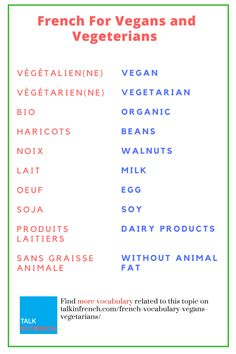 For vegetarian buddies! If you're in France, then you surely need this vocabulary list to help you stop your hunger. + download the list in PDF format for free! Visit https://www.talkinfrench.com/french-vocabulary-vegans-vegetarians/