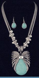 Southwest Aqua Blue Bead & Rhinestone Silvertone Necklace with Earrings $38 @ www.whimzaccessories.com