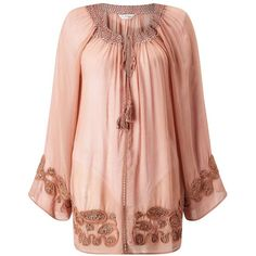 Miss Selfridge Rose Gypsy Blouse ($44) ❤ liked on Polyvore featuring tops, blouses, dresses, rose pink, rose blouse, rose tops, embroidered top, pink blouse and rosette top