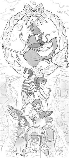 Studio Ghibli Tattoo, Studio Ghibli Art, Studio Ghibli Movies, Kiki Delivery, Kiki's Delivery Service, Draw Tutorial, Japanese Animated Movies, Poses References, Film D'animation