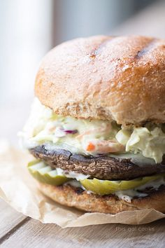 These Portobello Burgers with Chipotle Avocado Slaw are a healthier vegetarian grilling option that you will LOVE! | This Gal Cooks