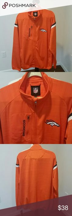 NEW NFL WILD CARD BRONCOS JACKET BRAND NEW NFL WILD CARD BRONCOS JACKET.  TEAM COLORS. LIGHT WEIGHT.  NYLON OUTSIDE, LIGHT WEIGHT FLEECE INSIDE.  SIDE POCKETS, CHEST POCKET FOR PHONE ETC. BEAUTIFUL COMFORTABLE JACKET. NFL Jackets & Coats Performance Jackets
