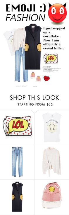 """""""LOL"""" by iriadna ❤ liked on Polyvore featuring Alice + Olivia, Zoe Karssen, Frame, MANGO, Anya Hindmarch, CasualChic, DenimStyle, sneakerstyle, emojifashion and pinksneakers"""